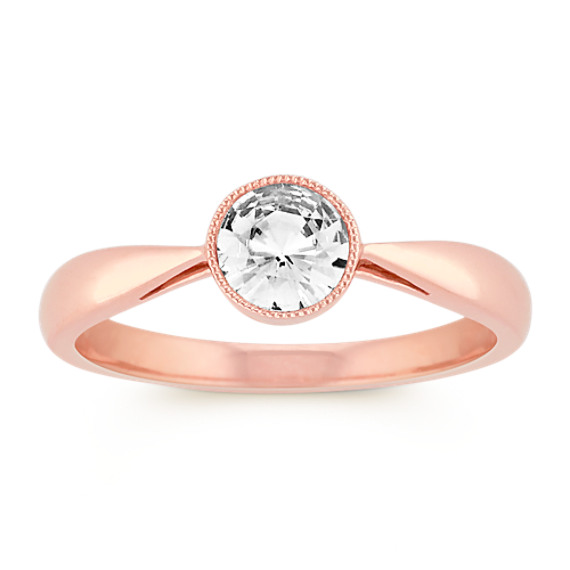 Round Bezel-Set White Sapphire Ring in 14k Rose Gold