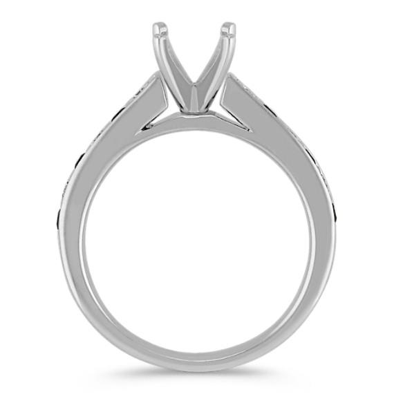 Round Black Sapphire and Diamond Engagement Ring