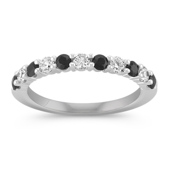 Round Black Sapphire and Diamond Wedding Band