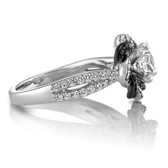 Round Black Sapphire and Round Diamond Braided Twist Halo Engagement Ring at