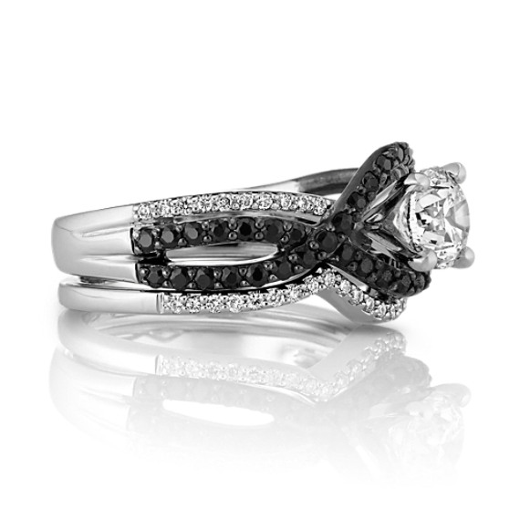 Round Black Sapphire and Round Diamond Swirl Wedding Set