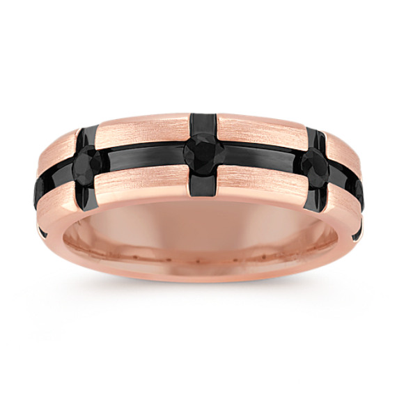 Round Black Sapphire Ring in Rose Gold with Black Ruthenium (7mm)