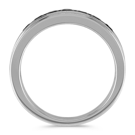 Round Black Sapphire Ring with Channel-Setting (6mm)