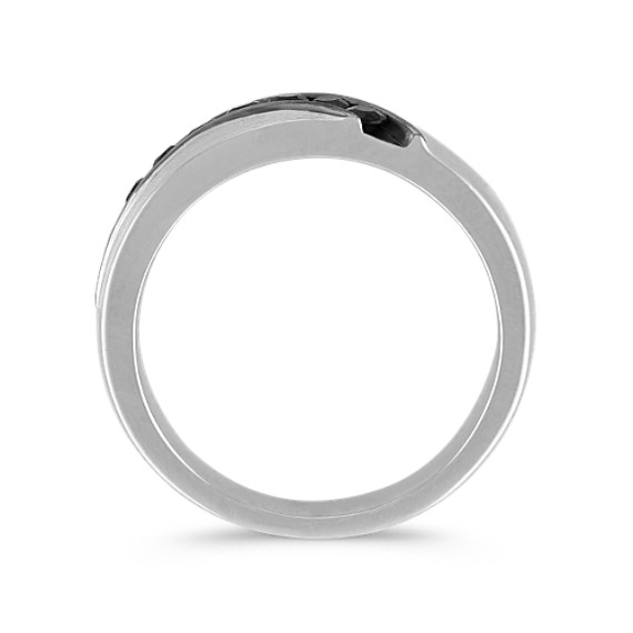Round Black Sapphire Ring with Satin Finish (6mm)