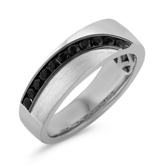 Round Black Sapphire Wedding Band with Channel-Setting (7.5mm)