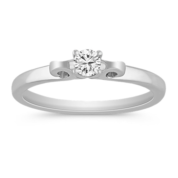 Round Diamond and Sterling Silver Ring