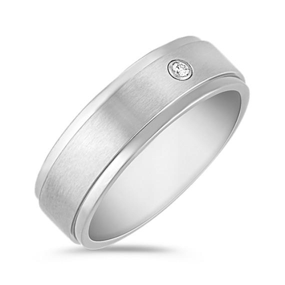 Round Diamond and Titanium Ring (7mm)