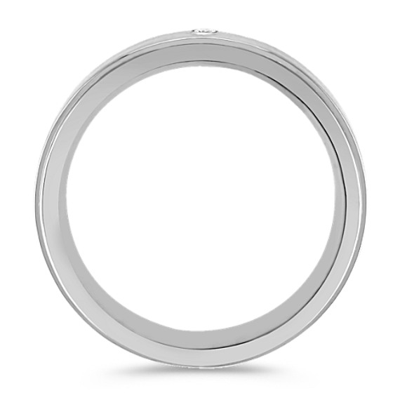 Round Diamond and Titanium Ring (7mm)