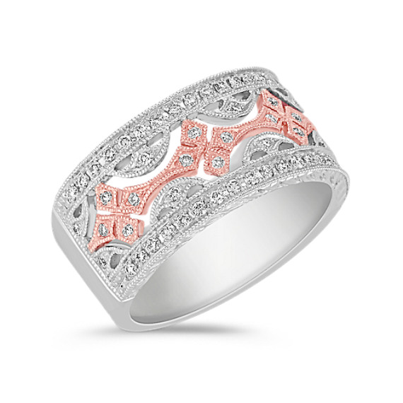 Round Diamond Anniversary Band in 14k White and Rose Gold