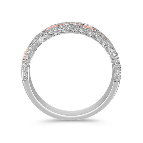 Round Diamond Anniversary Band in 14k White and Rose Gold