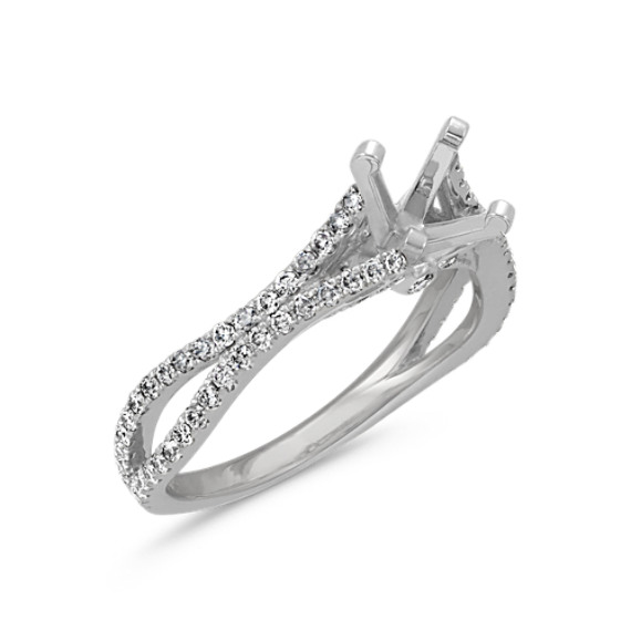 Round Diamond Cathedral Engagement Ring in 14k White Gold