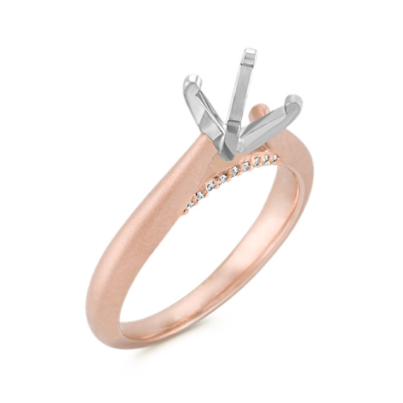 Round Diamond Cathedral Engagement Ring in Rose and White Gold