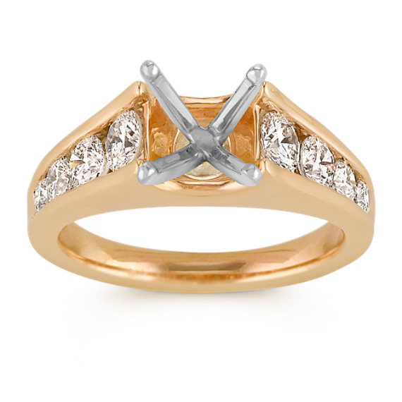 Round Diamond Cathedral Engagement Ring with Channel-Setting