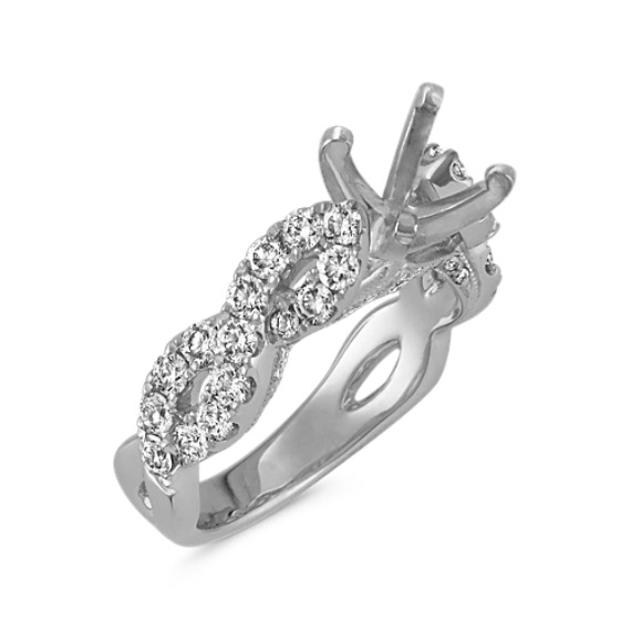 Round Diamond Cathedral Infinity Engagement Ring in 14k White Gold