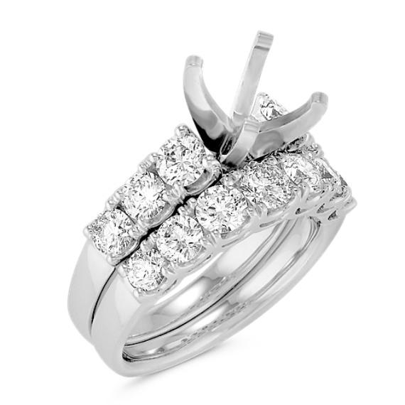 Round Diamond Cathedral Wedding Set