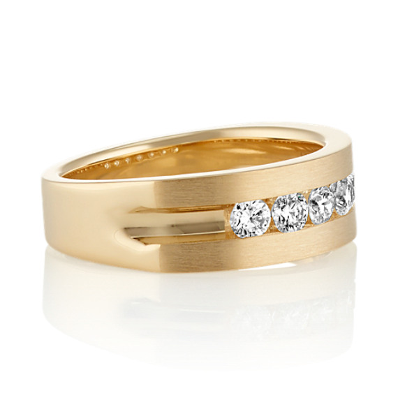 Round Diamond Channel-Set Men's Ring in Yellow Gold (7mm)