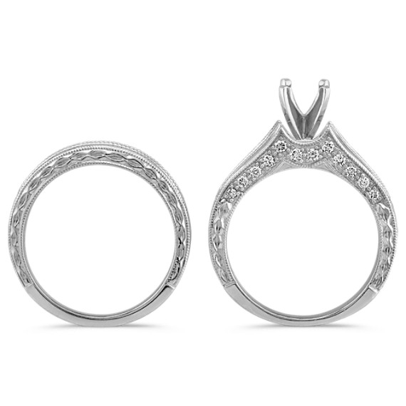 Round Diamond Channel Set Wedding Set with Engraving