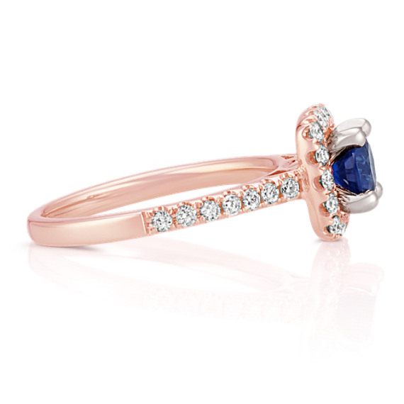 Round Diamond Classic Halo Engagement Ring in 14k Rose Gold