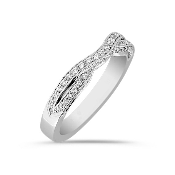 Round Diamond Contour Split Shank Wedding Band