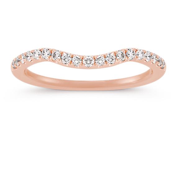 Round Diamond Contour Wedding Band in 14k Rose Gold