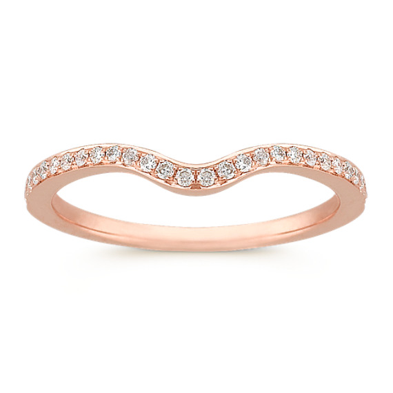 Round Diamond Contour Wedding Band in Rose Gold with Pavé Setting