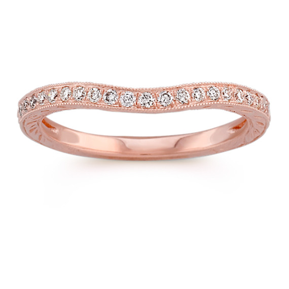 Round Diamond Contour Wedding Band in Rose Gold