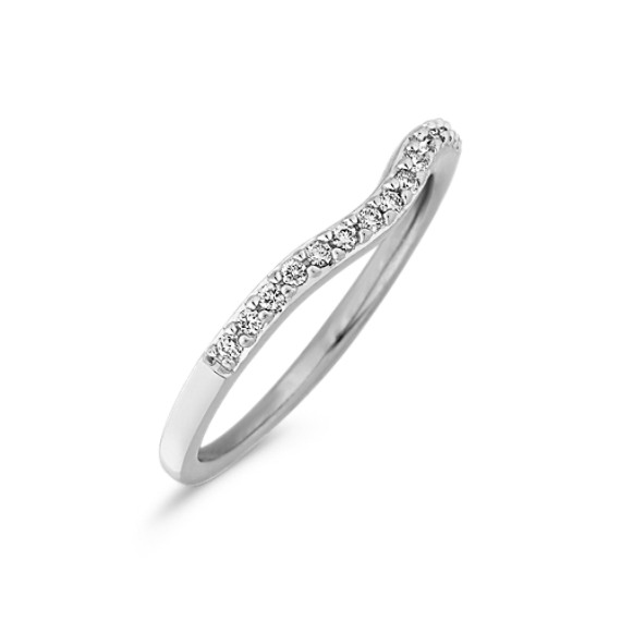 Round Diamond Contour Wedding Band with Pavé Setting