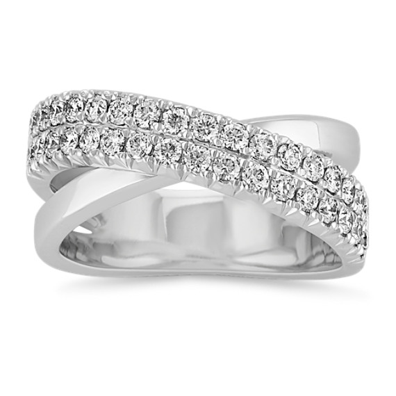 Round Diamond Criss-Cross Ring