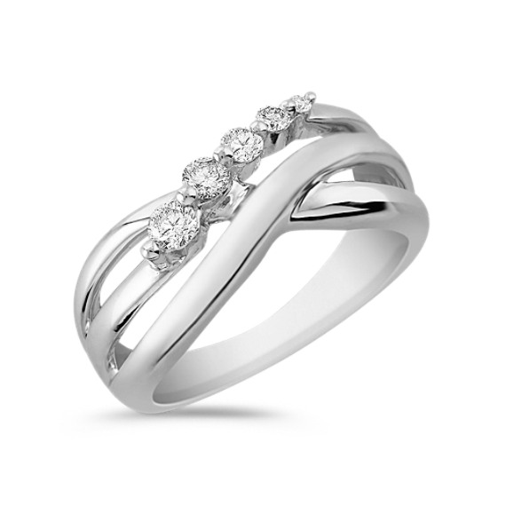 Round Diamond Crossing Journey Ring