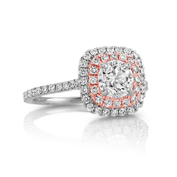Round Diamond Double Halo 14k White and Rose Gold Engagement Ring at Shane Co