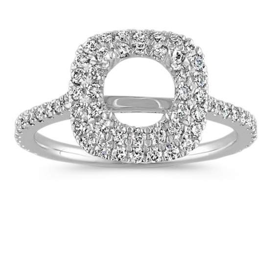Round Diamond Double Halo Engagement Ring with Pavé Setting at Shane Co