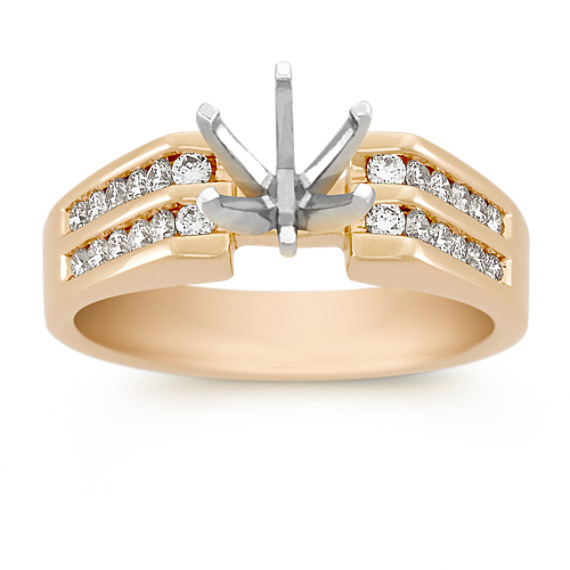 Round Diamond Engagement Ring in 18k Gold