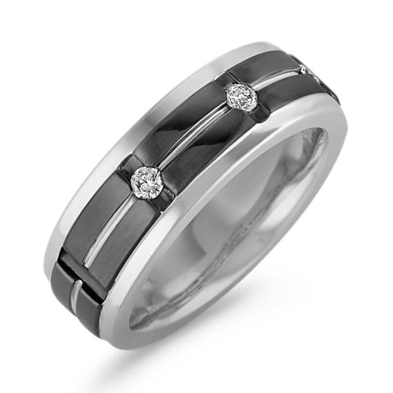 Round Diamond Engraved Ring with Black Rhodium and Channel-Setting (8mm)