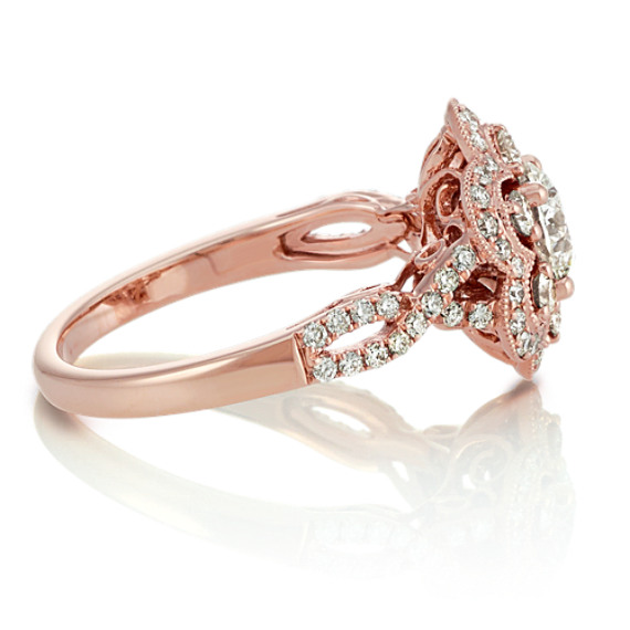 Round Diamond Floral Ring in 14k Rose Gold