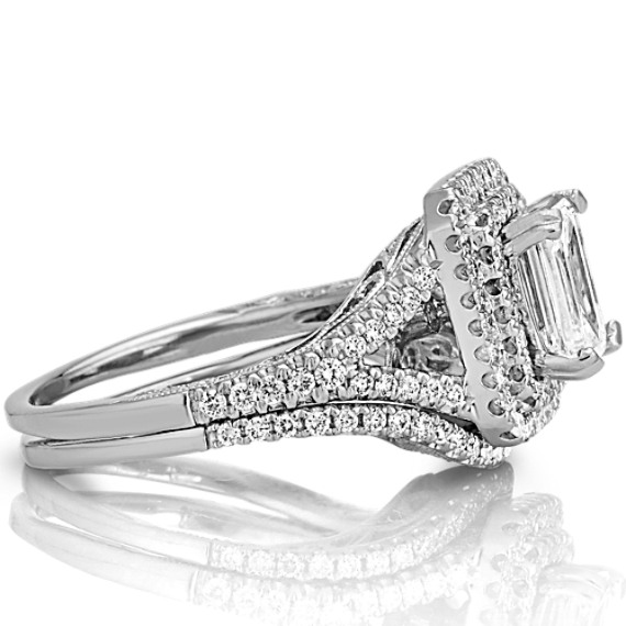 Round Diamond Halo and Split Shank Wedding Set