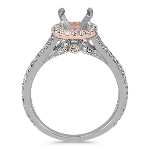 Round Diamond Halo Engagement Ring in Two-Tone Gold