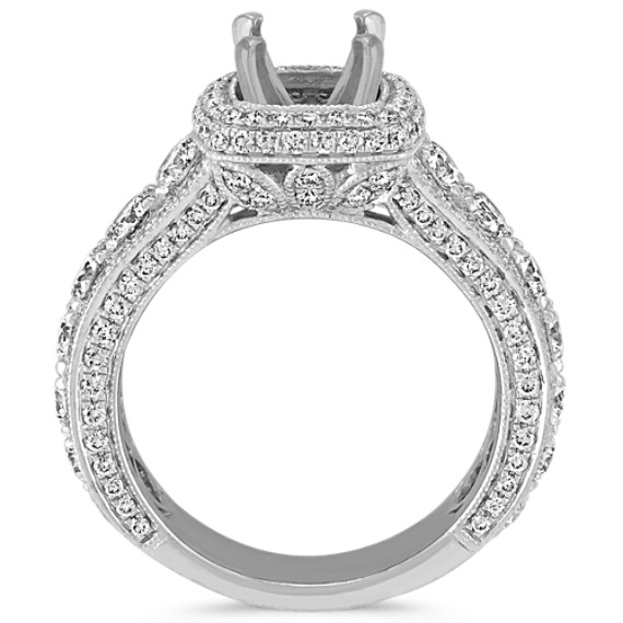 Round Diamond Halo Engagement Ring with Milgrain and Pavé Setting