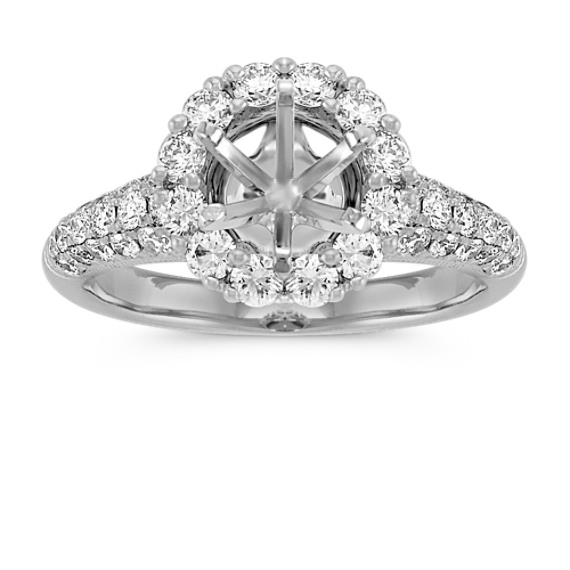 Round Diamond Halo Engagement Ring with Pavé-Setting