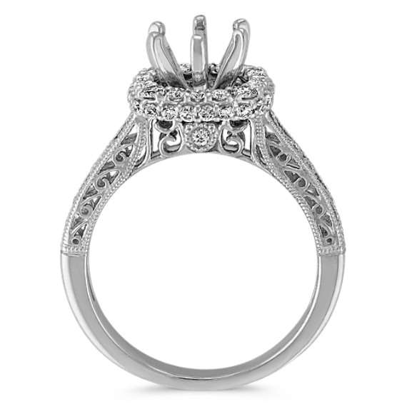 Round Diamond Halo Engagement Ring with Scroll Accents