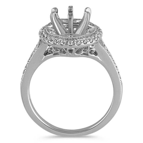 Round Diamond Halo Vintage Engagement Ring with Pavé Setting