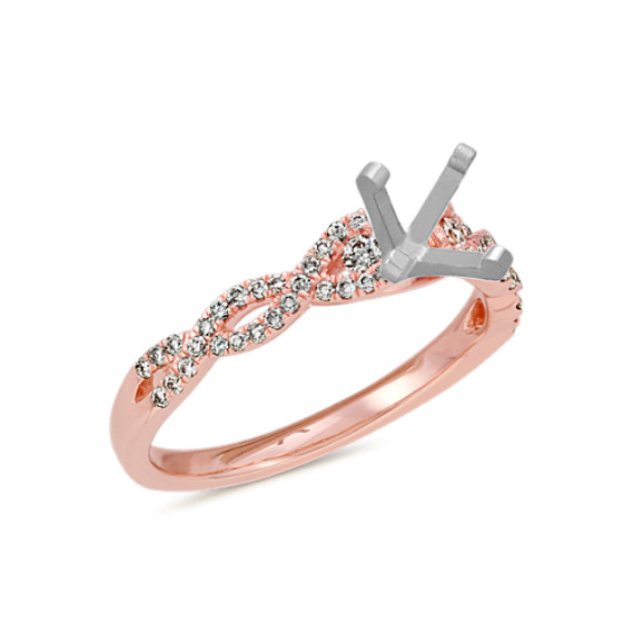 Round Diamond Infinity Engagement Ring in 14k Rose Gold