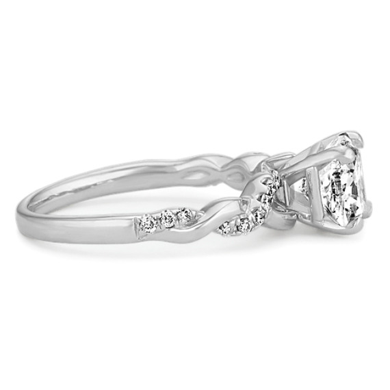 Round Diamond Infinity Engagement Ring in 14k White Gold
