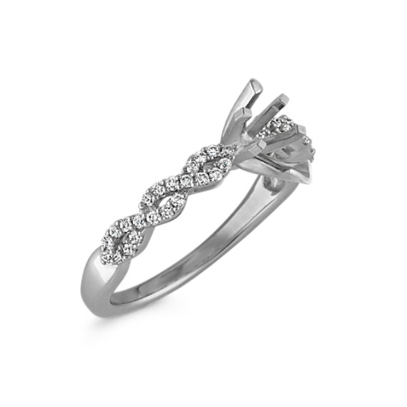 Round Diamond Infinity Engagement Ring with Pavé-Setting