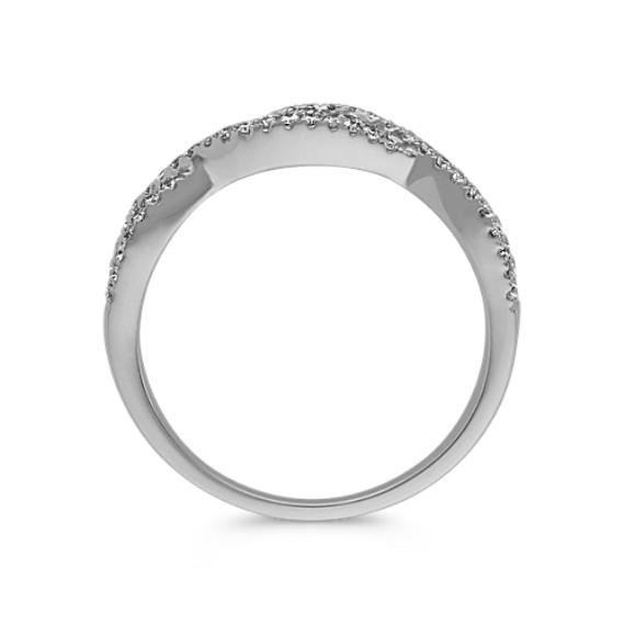 Round Diamond Infinity Swirl Band in 14k White Gold