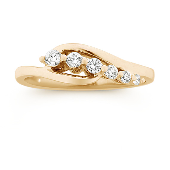 Round Diamond Journey Ring in 14k Yellow Gold
