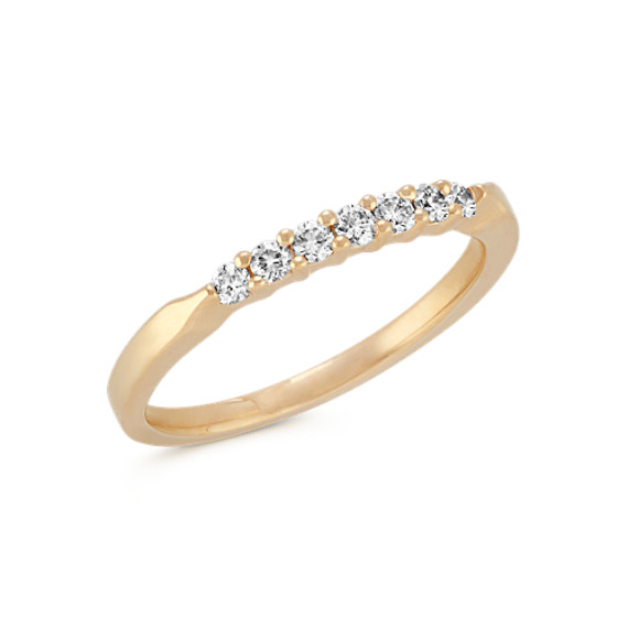 Round Diamond Line Wedding Band