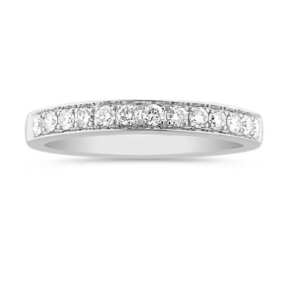 Round Diamond Lined Wedding Band with Pavé Setting