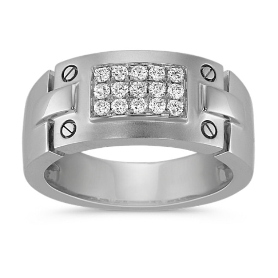 Round Diamond Men's Ring in 14k White Gold (10mm)