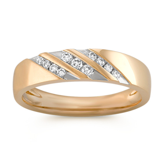 Round Diamond Men's Ring with Channel-Setting