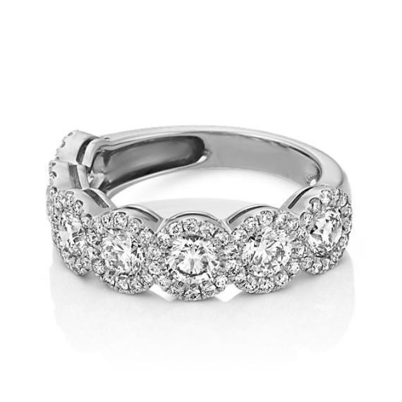 Round Diamond Pavé-Set Wedding Band in 14k White Gold